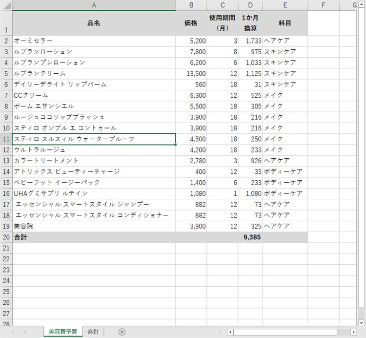 Excelで美容費予算を算出