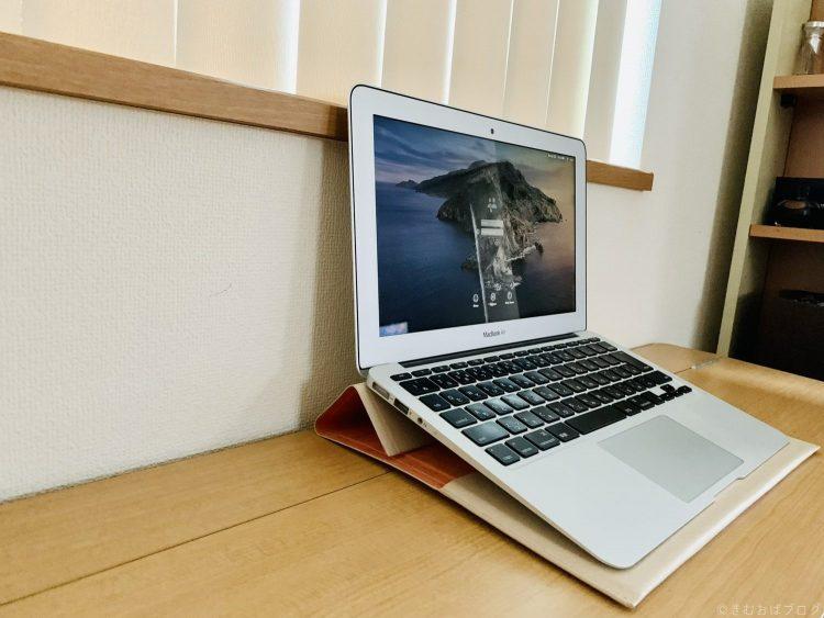 エレコム ケース MacBook Air、MacBook Pro 13インチをスタンドとして使用中