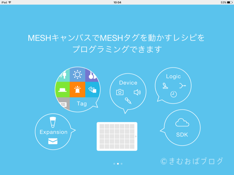 SONY MESHアプリ起動時チュートリアル画面2