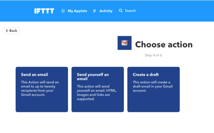 IFTTT Gmail Choose action設定