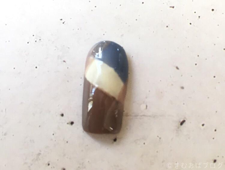 HOMEIウィークリージェルPLAZA限定北欧カラーで作るチェックネイルの手順 WG-10は1度塗りだけ