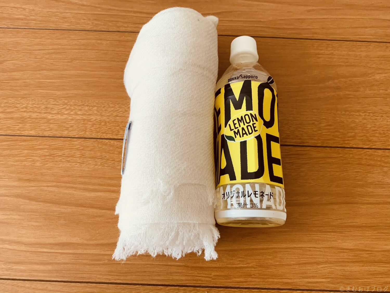 ハヤシグチ カシミア100%薄手ストール 畳んだ大きさは500mlペットボトルぐらい
