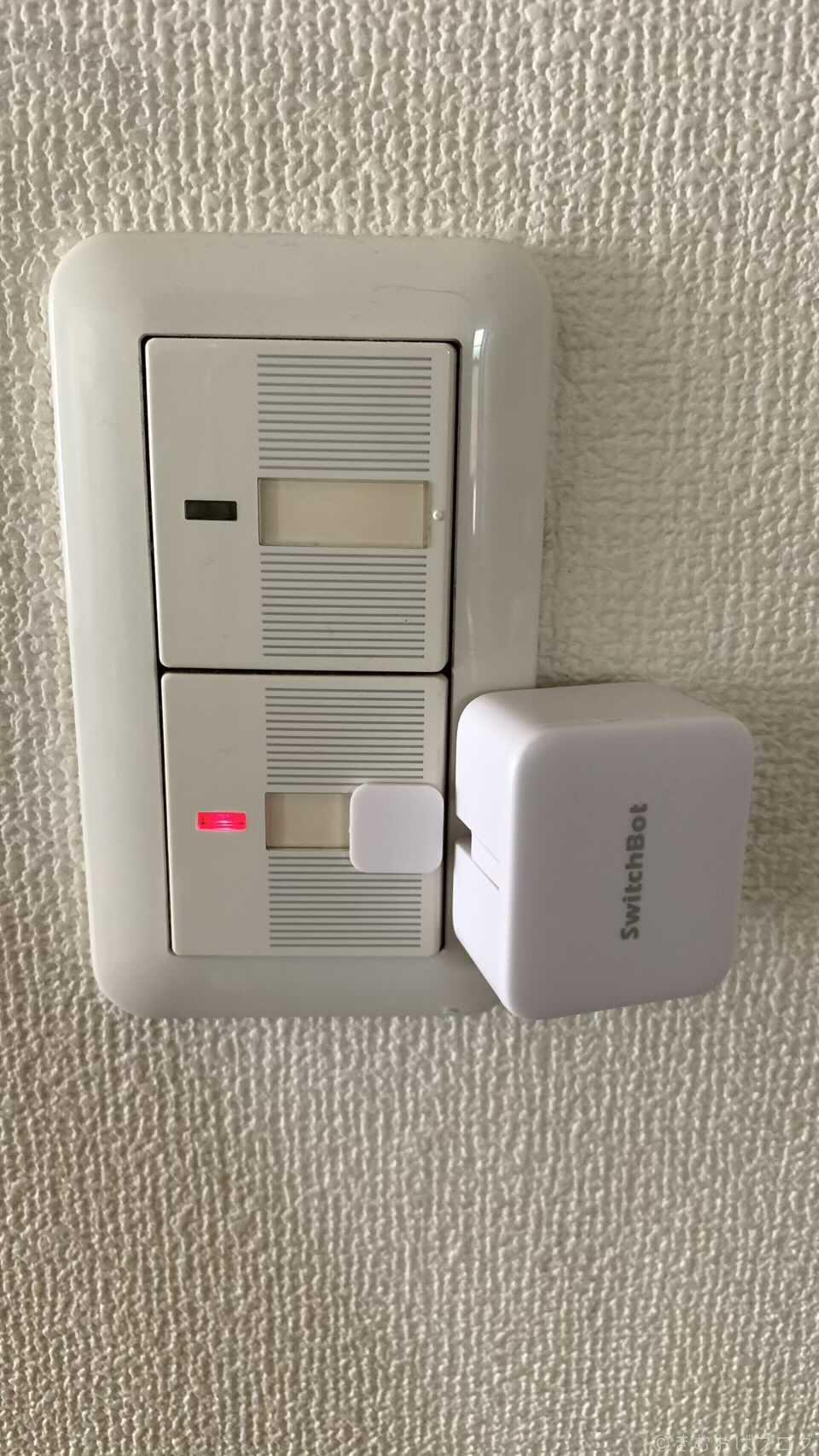 トイレの換気扇のスイッチにSwitchBotを取り付けたところ