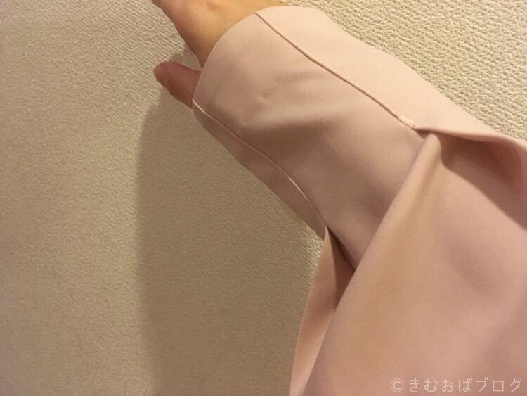 エディストクローゼット ピンクコンパクト袖タックブラウス