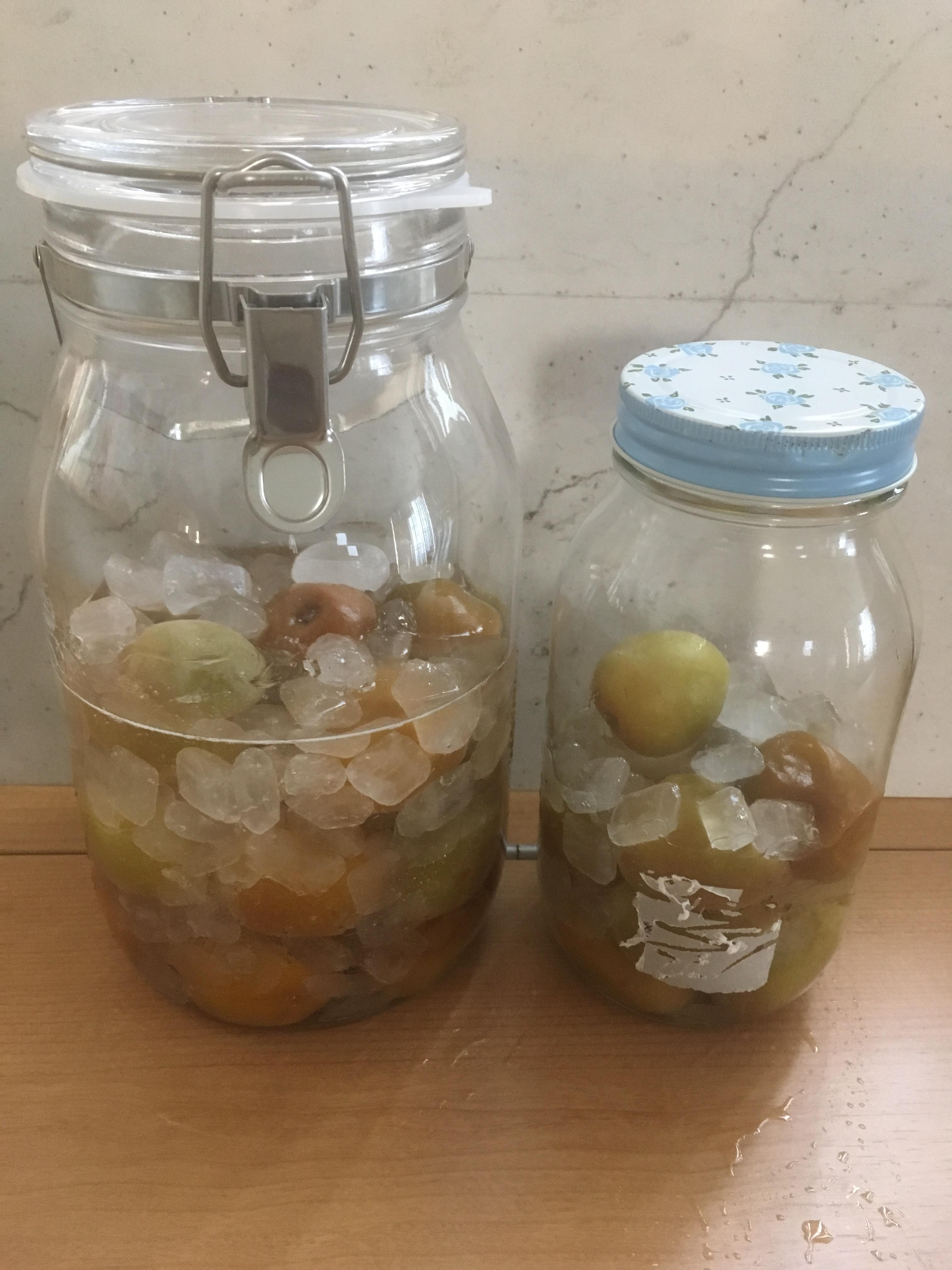 梅シロップ作り 2l容器と100均の瓶